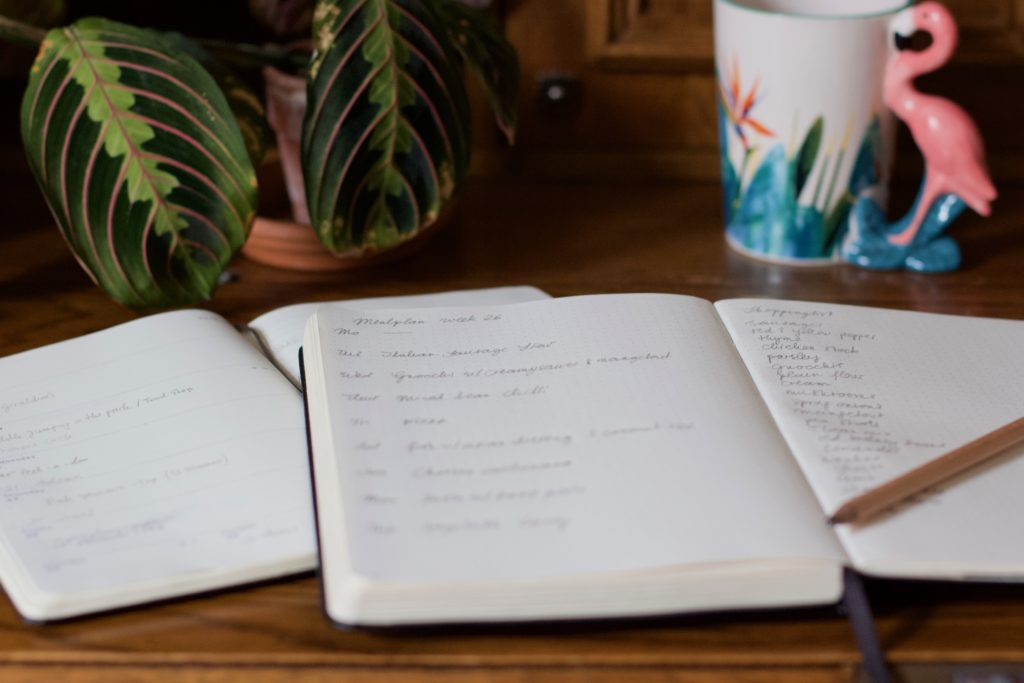 A notebook with meal plan and shopping list written inside lies open on a table. An open diary peeks out from underneath. In the back stands a tea mug with a flamingo handle and colourful bird of paradise flowers printed on it.